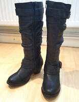 Lilley Knee High Zip Up Leather Boots Black Size UK 3 EU 36