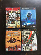 Lot of 4 PS2 Games Metal Gear Solid 2 Star Wars The Thing GTA San Andreas !!!!