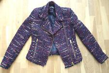 Zara Blazer Biker Jacke Boucle Tweed lila-blau aubergine Reißverschluss 36 S