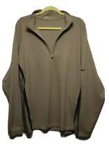 Nike Fit Dry Golf Men's L 1/2 Zip Pull Over Long Sleeve Tan Black Knit Top Shirt