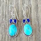 #E445 Boucles d'oreilles Hiboux Argent Massif 925 Turquoise & Lapis Lazuli