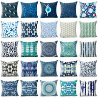 Blue Bohemia Cotton Linen Pillow Case Cover Sofa Waist Cushion Car Cover Case