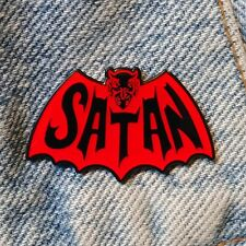SATAN 1.5 inch Enamel Lapel Pin logo Batman punk metal jacket
