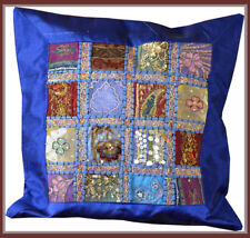 Hand Crafted Vintage Embroidered Patch Work Blue Silk Pillow Cushion Cover India