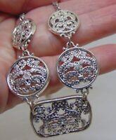 "VINTAGE Silvertone Five Medallion Pendant Choker Necklace 16"""