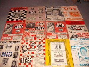 Lot of 13 1960's Auto Racing  Programs, Sprint Cars Reading Fairgrounds,, PA.