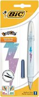 BIC Easy Clic Fountain Pen with Blue Ink Cartridge Cherry Motif-Color may vary