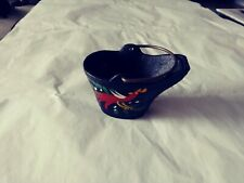 Vintage Cast Iron Miniature Coal Bucket With Red Hand Painted Rooster