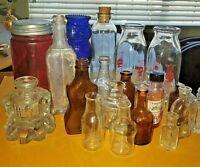 Lot of 20 Vintage medicine glass Pharmacy Bottles Jars