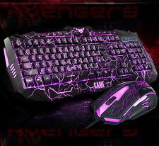 GB UThink 3 Colors Backlit V100 Ergonomic Gaming Keyboard 6 Buttons Gaming Mouse