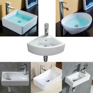 UK Small Ceramic Wash Basin Compact Sink Wall Hung / Countertop Bathroom White