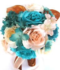 Wedding Bouquets 17 pcs Silk Flower Bridal package AQUA TURQUOISE PEACH Copper