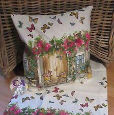 #10538 Kissenhülle Blumen Schmetterlinge Butterfly Garten Landhaus