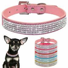 Persoanlised Leather Rhinestone Diamante Dog Collar Soft Bling Puppy Pet UK