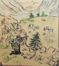 VINTAGE IMPRESSIONIST PASTEL/INK DRAWING LANDSCAPE HUNTER