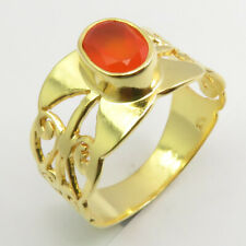 Solid Silver Carnelian Ring Sz 7 Yellow Gold Plated Wedding Fashion Jewelry 925