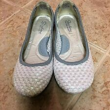 SHOES, SKECHERS, SIZE 7.5, WHITE,COMFORT, FLAT, (0 TO 1/2IN), MEDIUM (B,M)