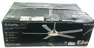 ALTITUDE Arlette 60 in LED Indoor/Outdoor Brushed Nickel Ceiling Fan 131L60BNSLV