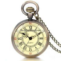 Vintage Roman Numerals Bronze Quartz Pocket Watch Pendant Necklace for Men Women