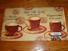 """Anti-Fatigue Kitchen BIG Floor Mat Rug Chef  20""""x 36""""COFFEE Cappuccino CAFE Cup"""