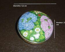 826  Boite vide à bonbons ou pilules en métal D 5,2 cm * H 2 cm