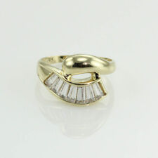 1.75 CT. LONG BAGUETTE WHITE TOPAZ COCKTAIL RING 10K YELLOW GOLD SIZE US7.75