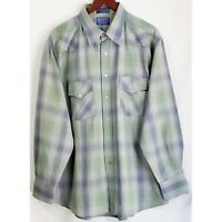 Vintage Pendleton Mens Shirt XL Blue Green Gray Plaid Pearl Snap Front Wool