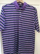 Nike Fit Dry Tiger Woods Collection Golf Polo Shirt Sz L Purple Stripe 3 Button