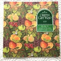 VTG Hallmark Christmas Gift Wrap Wrapping Paper Fruit Della Robbia Gold Nuts NOS