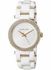 New Michael Kors Women's Two-Tone SST Gold White Acetate Watch MK4315