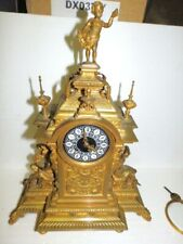 Antique 19,5 Inch Decorative 29,5 Ponds Bronze / Brass Mantel Clock For Restaura