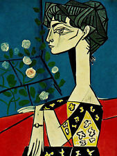 Pablo Picasso Jacqueline with flower giclee 8.3X11.7 canvas print reproduction