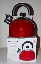 High Quality Stainless Steel Whistling Tea Kettle Coffee Teapot 2.5 Quart RED