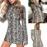 Women Snake Skin Print Bodycon Mini Dress Long Sleeve Casual Dress Top UK