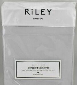 Bloomingdales Riley Portugal Solid Cotton Percale KING Flat Sheet MIST Gray NIP