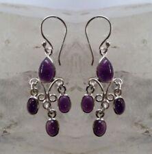 Chandelier Amethyst Sterling Silver Fine Earrings