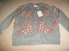 Jovonna M L grey silver red japenese floral cardigan new with tags