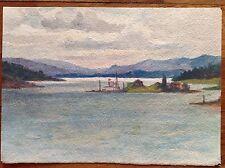 Acquarello fine '800 primi '900 paesaggio pittoresco sul lago panorama colline