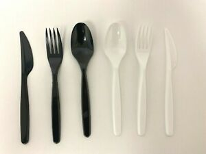 Disposable Plastic Cutlery Clear Black Heavy Duty Forks Spoons Knives Sets *****