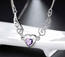 Amethyst CZ Crystal Angel Wings, Heart Pendant Necklace, 925 Chain + Gift Box