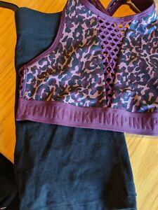PINK VS Ultimate Unlined Lace Up Sport Bra Burgundy Animal PrintW/Bike shorts~M~