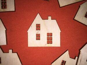 10 x mini HOUSE / HOME SWEET HOME WOODEN SHAPE PLAIN EMBELLISHMENT BLANKS CRAFT