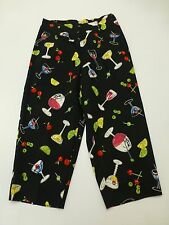Briggs Womens Size 8/10 Black Mixed Drinks Capri Dress Pants Great Condition