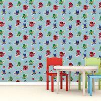 PJ MASCARAS Papel Pintado Dormitorio Para Niños Decoración Azul wp4-pjm-hrs-12