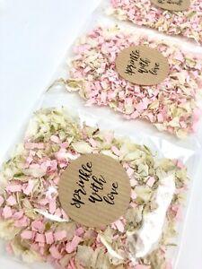 10 Natural Wedding White Delphinium Biodegradable Petal Confetti Pink Funfetti