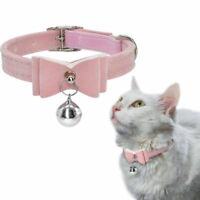 Adjustable Velvet Cat Kitten Neck Collar with Bell Pink