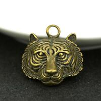 Antique Brass Tiger Head Pendant Collectables Luck Pocket Gift Micro-Carving