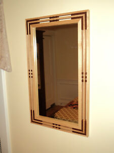 Handcrafted Arts & Crafts Mission/Prairie Hickory & African Mahogany Mirror