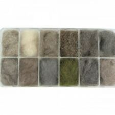 Fly Tying Dubbing, Natural Hares ear Dubbing, Dispenser Box, 12 colours