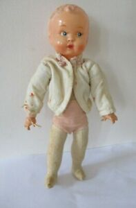 Vintage German 1930/40s Celluloid & cloth bodied Baby doll hard plastic head